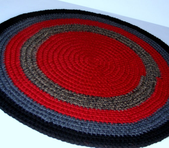 Crochet Rag Rug, Handmade Area Rug or Pet Bed Round in Shades of Red and Charcoal Grey