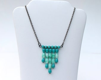 Turquoise chevron necklace with gun metal chain, beaded chevron necklace in turquoise and black