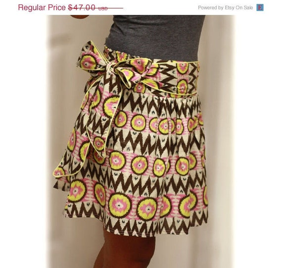 OOAK Yellow circle Neon and Brown PInk Tribal Mini Skirt  with Sash Belt - Ready to Ship