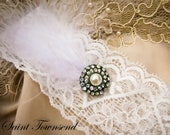 Lace Wedding Garter, Couture Inspired Ivory  Lace Garter with Marabou Feathers, The Aurora Garter by Saint Townsend