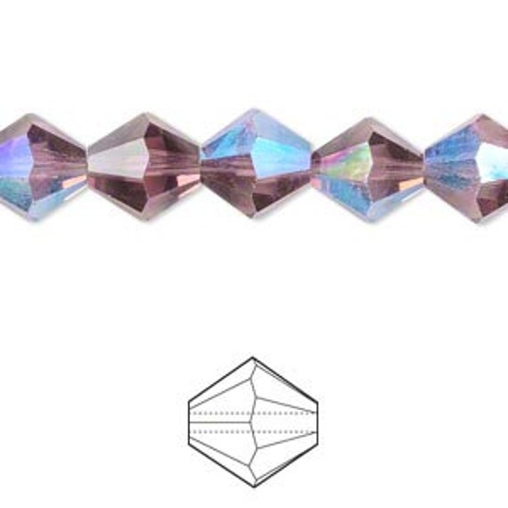 102 Lilac Amethyst Crystal Bicone AB Fire Polished Czech Glass Beads - 3mm 12 Inch Strand