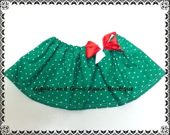 Green and White Polka Dot Twirl Skirt with Bow -  6 to 24 months, 2 to 6 years**