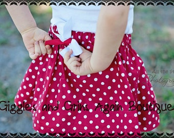 Red and White Polka Dot Twirl Skirt with Bow -  6 to 24 months, 2 to 6 years**