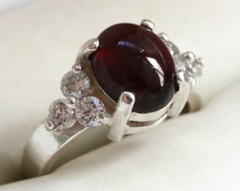 Deep Cherry Red 4 CT Garnet and CZ Sterling Silver Ring
