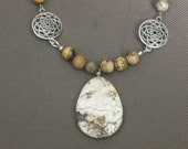 Necklace-Beaded Necklace-Stone Necklace-Beaded Stone Necklace-Brown Necklace-Brown and White Necklace-OOAK