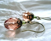 "Peach Pink Earrings ""Blush"", Victorian Glass Drops, Romantic Feminine Jewelry, Vintage Look Earrings, Mothers Day Gift for Her"