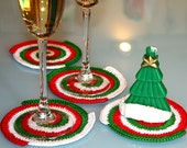 Crochet Coasters. Set of 4 pcs. Red. Green. White. Spiral. New Year. Placemat doilies.
