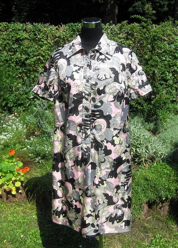 Vintage Dress, Pink Grey Black and Pale Yellow Dress, Size X-Large (German Size 48), Rayon Triacetate House Dress, Vintage House Coat