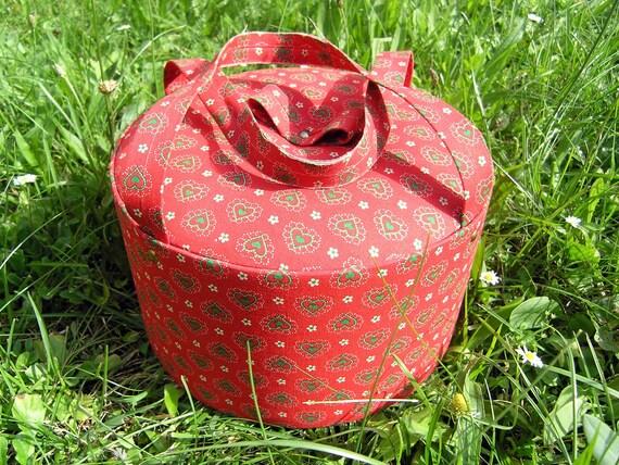 Vintage Red Sewing Box, Hearts Fabric Crafts Basket, Round Sewing Box, Crafts Organizer, 1960s Estate Sale Sewing Basket, Box, Storage Case