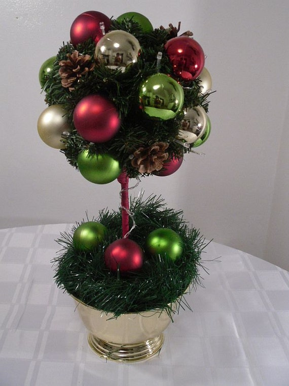 Items similar to christmas centerpiece ornament topiary