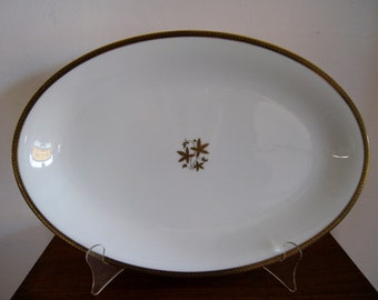 Huge Noritake Goldston oval serving platter gold and blue geometric modern design