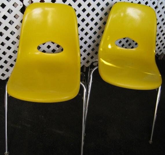Mid Century Fiberglass shell chairs Herman Miller era