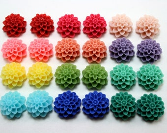 24 pcs Resin Flower Cabochons - 15mm Dahlia - Rainbow Brights Assorted Mix - Matte