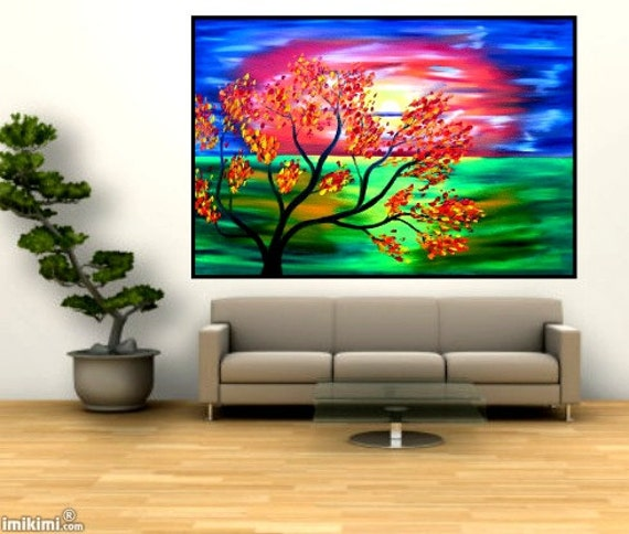 sale for christmas was 135 USD now 100 USD Original oil painting large landscape modern art autumn