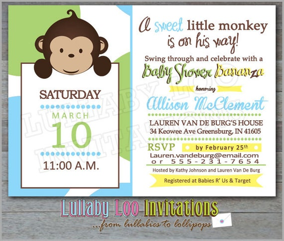 Baby Shower Invitations Wording For Boys: Monkey Baby Shower Invitations Baby Boy 314 Set Of By