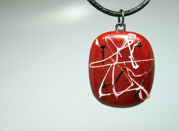 Polymer Clay Jewelry, Necklace, Pendant, Glazed, Maroon Drizzle - Square