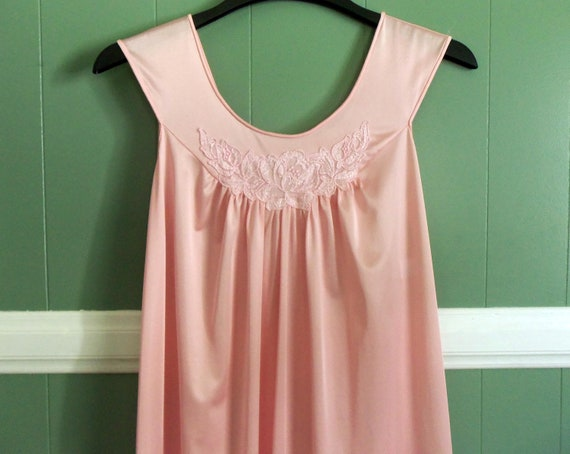 Vintage 1960s Pink Lingerie Nightgown Long Lorraine Size Small