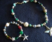 Military Camo and Star pendant - Bracelet and Matching Dog Collar OOAK - 19 inch collar with stretch bracelet