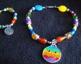 Rainbow beads and Smiley pendant - Bracelet and Matching Dog Collar OOAK - 13 inch collar with stretch bracelet