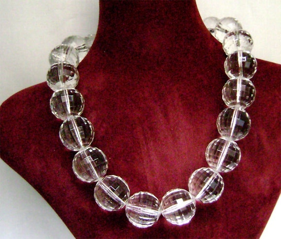 Vintage Lucite huge clear faceted bead necklace Modernist Chunky 1960's Bold