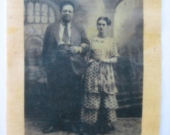 frida kahlo and diego rivera  bees waxed fabric wedding photo