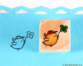 four leaf clover and bird Small Rubber Stamps