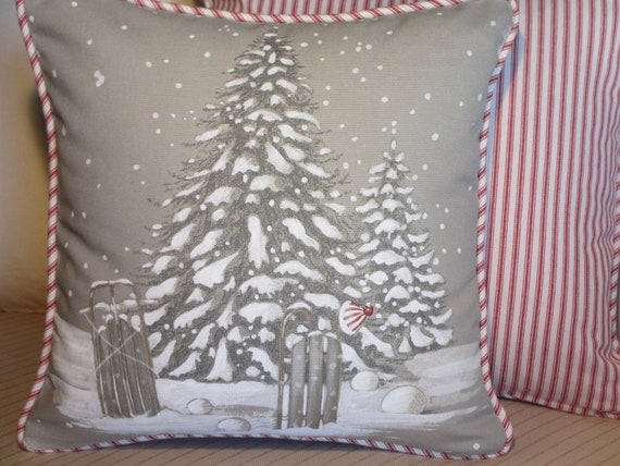 Christmas Tree Pillow Cover Grey Paris Fabric Holiday Throw