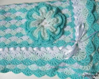 Crochet PATTERN Baby Blanket Turquoise Sea Shell, Baby Shower Boy or Girl DIY Gift, Instant Download Pattern PDF No.42, Lyubava Crochet