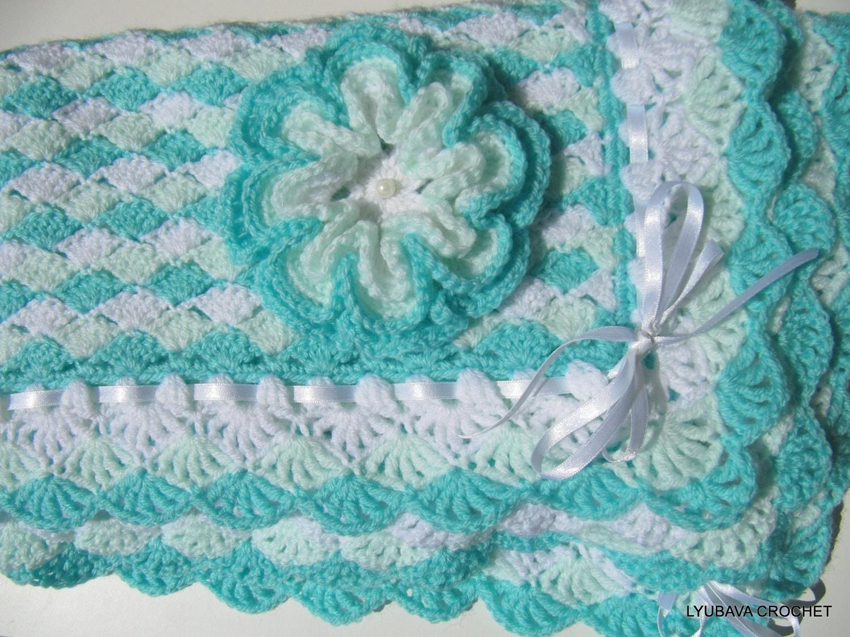 Crochet Pattern Baby Blanket Turquoise Sea Shell Baby Shower