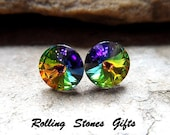 Vitrail Medium Studs,  8.4mm Earrings, Swarovski Rivoli, Rhinestone Stud,  Earrings Vitrail, Crystal Studs-Color Changing Stud, Rostone
