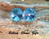 12mm Aquamarine Swarovski Rivoli Rhinestone Stud Earrings-Large Aquamarine Crystal Studs-March Birthstone Studs-Big Aqua Stud Earrings