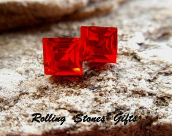 Light Siam  Studs, 6mm Red Earrings, Square Rhinestone Earrings, Bright Red Crystal Studs, Small Red Stud Earrings, 6mm Red Studs, Rostone