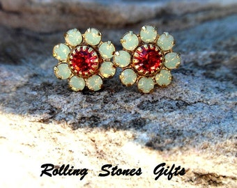 10mm Chrysolite Opal and Indian Pink Gold Swarovski Flower Cluster Rhinestone Stud Earrings-Cluster Crystal Studs-Opal Pink and Gold Studs