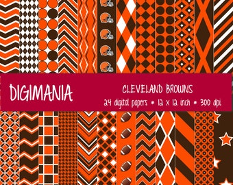OFF %40 - INSTANT DOWNLOAD - Digital Paper Pack -  Cleveland Browns Colors - Brown, Orange and White 24 Printable Papers