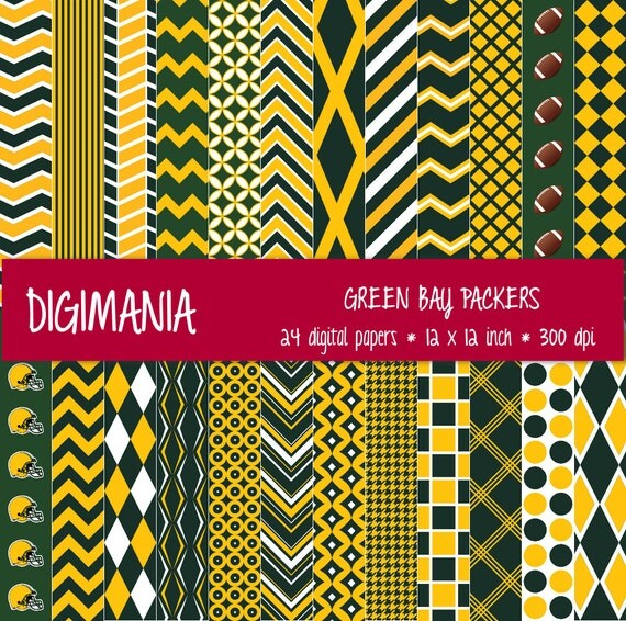 OFF %40 - INSTANT DOWNLOAD - Digital Paper Pack -  Green Bay Packers Colors - Dark Green, Gold and White 24 Printable Papers