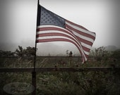 Freedom American Flag in Fog Along Fencing Vintage Photograph 5X5 square with black backing frame