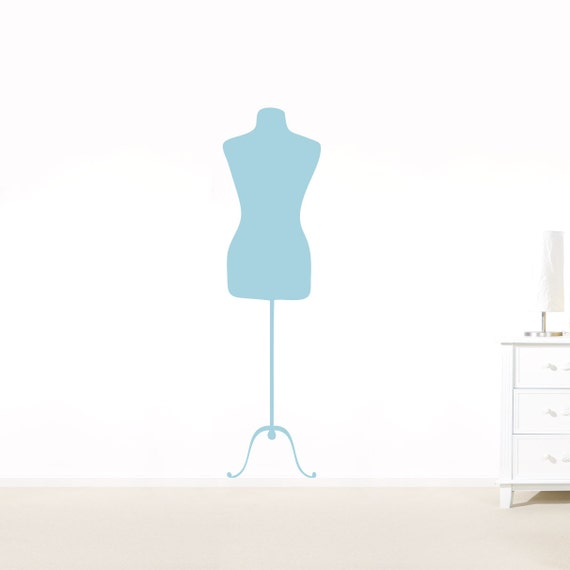 Vintage Inspired Dress Form Wall Decal - Fashion Mannequin, Dress Form Decal, Dress Form Art, Vintage Fashion Art, Dress Form Sticker