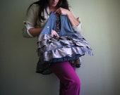 Tye Dyed Shadow XL Bag, Upcycled Cotton Jersey Tank Top Bag, Tshirt Bag, Boho Bag, Reusable Grocery Bag, Black Tote, Carry All