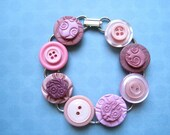 Bracelet Mixed Media Upcycled Vintage Buttons Clay Tiles - Pinks Another