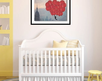 Baby Nursery Art- Red Balloons in New York - 20x30 fine art print - baby nursery room - home decor - large wall art - New York Skyline