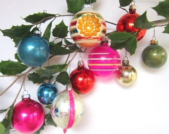 SALE - Shiny Brite Christmas Ornaments, Vintage Christmas Decorations, Mid-Century Glass Balls Red Pink Gold Blue Green