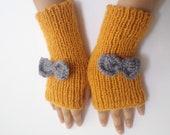 Gloves, Mittens, Women Accessories, Fingerless gloves, knitting gloves, Wool Mustard Gloves, women accessories