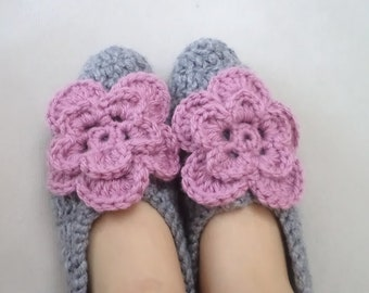 Socks,Adult Wool Grey Crochet Socks, Women Accessories, Slippers,  Thick Simply Socks, Women slippers, house shoes