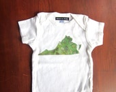 Virginia Home State Shirt Geographic Applique Onesie - Batik Fabric in Applique awesome baby gift