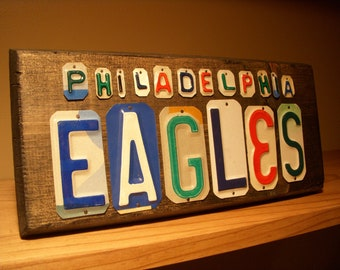 Philadelphia Eagles sign made with recycled license plates.