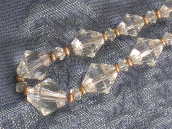 Vintage Necklace With Faceted Clear Glass Beads and Goldtone Metal Spacers