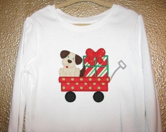 Puppy and a Present in a Wagon Shirt