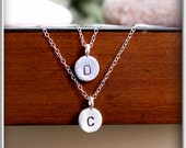Initial charm layered necklace in sterling silver 10mm disc personalized hand stamped