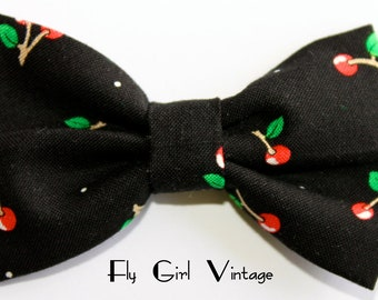Vintage-1940's-1950's-Style-Cherry-Hair-Bow-Clip-Cute-Cherries-Print-Fabric-Black-Red-Rockabilly-Pin-Up-Mod-For Women, Teens, Girls-Punk