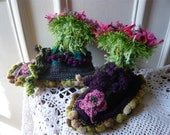 hand knitted women fairy slippers or socks in blue,violet,vivid green,pink,with grass,leaves and flowers,wearable art,OOAK